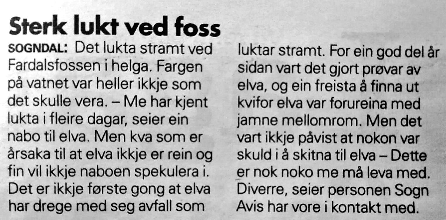 Utklipp frå Sogn Avis