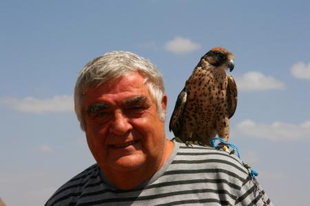 Oskar poserar med den mest sjuskute jaktfalken i Sana'a og det nære omlandet